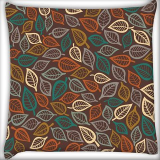 Snoogg Multicolor Leaves Digitally Printed Cushion Cover Pillow 20 x 20 Inch