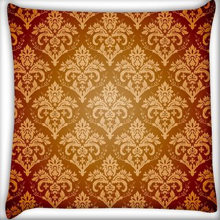 Snoogg Yellow Brown Pattern Digitally Printed Cushion Cover Pillow 20 x 20 Inch