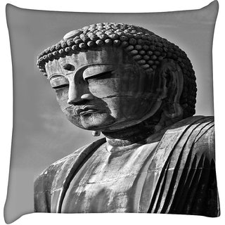 Snoogg  Buddha Statue  Digitally Printed Cushion Cover Pillow 16 x 16 Inch