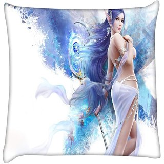 Snoogg  Jap Angel  Digitally Printed Cushion Cover Pillow 16 x 16 Inch