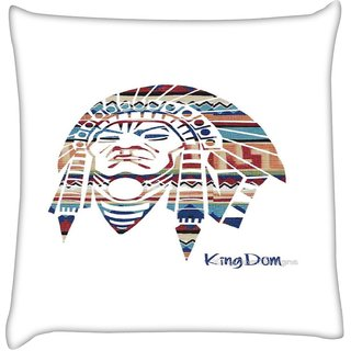 Snoogg  Red Indian  Digitally Printed Cushion Cover Pillow 16 x 16 Inch