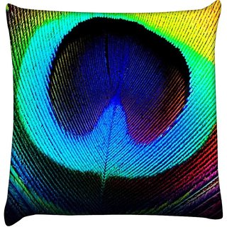 Snoogg  Peacock Feather  Digitally Printed Cushion Cover Pillow 16 x 16 Inch