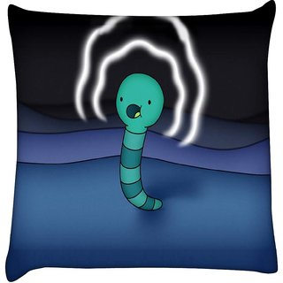 Snoogg worm wave energy 2566  Digitally Printed Cushion Cover Pillow 16 x 16 Inch