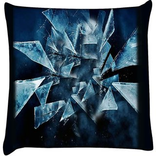 Snoogg dark scenes in the shattered glass 2618  Digitally Printed Cushion Cover Pillow 16 x 16 Inch