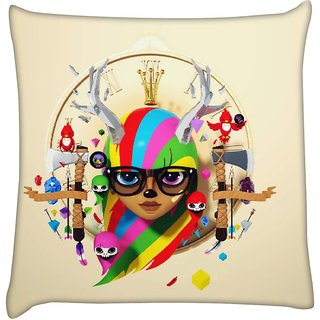Snoogg deer hipster girl 2620  Digitally Printed Cushion Cover Pillow 16 x 16 Inch