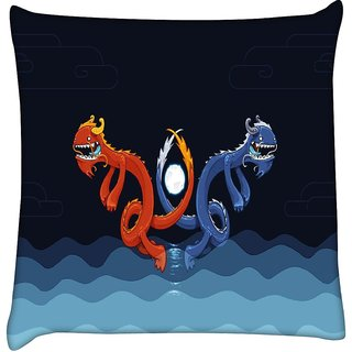 Snoogg dragons in the water 2622  Digitally Printed Cushion Cover Pillow 16 x 16 Inch
