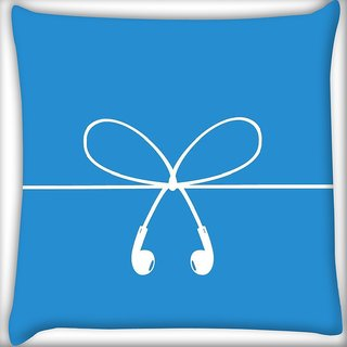 Snoogg earpods wires Digitally Printed Cushion Cover Pillow 16 x 16 Inch