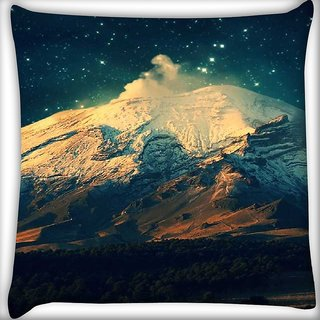 Snoogg Night in the everest Digitally Printed Cushion Cover Pillow 16 x 16 Inch