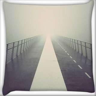 Snoogg Into the fog Digitally Printed Cushion Cover Pillow 16 x 16 Inch