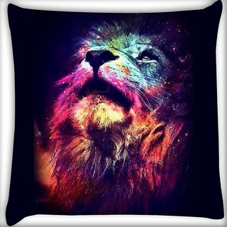 Snoogg Neon Lion  Digitally Printed Cushion Cover Pillow 16 x 16 Inch