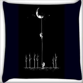 Snoogg Moon astro power Digitally Printed Cushion Cover Pillow 16 x 16 Inch