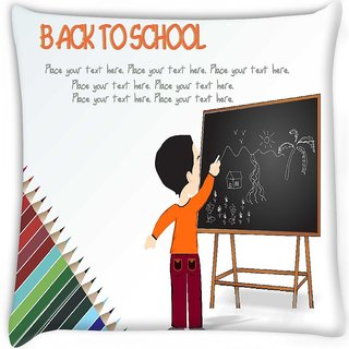 Snoogg  cute boy standing in front of blackboard Digitally Printed Cushion Cover Pillow 16 x 16 Inch