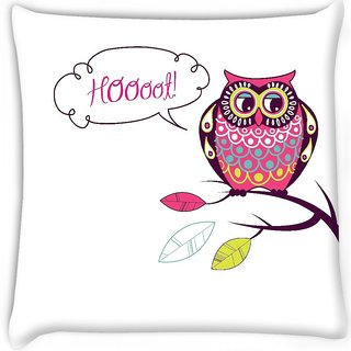 Snoogg  cute vector owl hoooot card Digitally Printed Cushion Cover Pillow 16 x 16 Inch