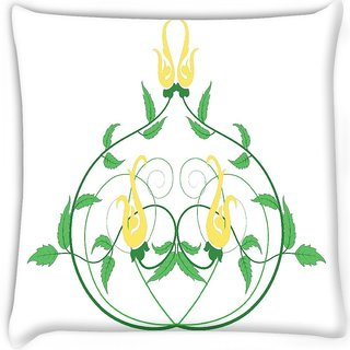Snoogg  decorative flourish frame Digitally Printed Cushion Cover Pillow 16 x 16 Inch