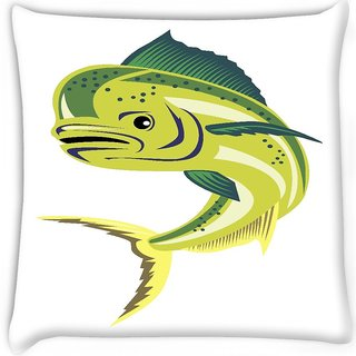 Snoogg  dorado dolphin fish mahi mahi jumping Digitally Printed Cushion Cover Pillow 16 x 16 Inch