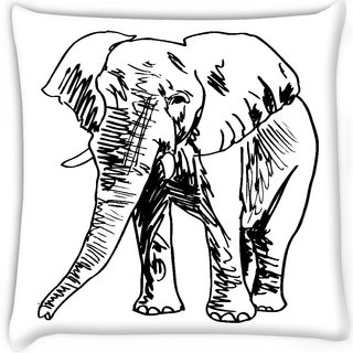 Snoogg  sketch of elephant vector illustration Digitally Printed Cushion Cover Pillow 16 x 16 Inch