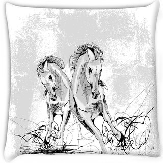Snoogg  sketch of horses running Digitally Printed Cushion Cover Pillow 16 x 16 Inch