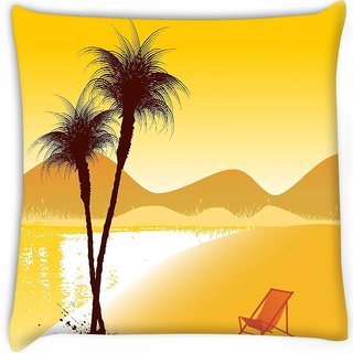 Snoogg  summer background Digitally Printed Cushion Cover Pillow 16 x 16 Inch