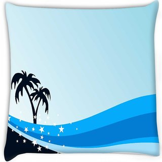 Snoogg  summer background with palm tree and blue wave Digitally Printed Cushion Cover Pillow 16 x 16 Inch