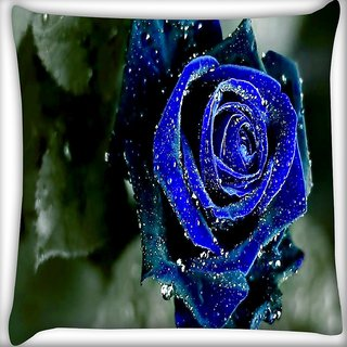 Snoogg Blue Rose Digitally Printed Cushion Cover Pillow 16 x 16 Inch