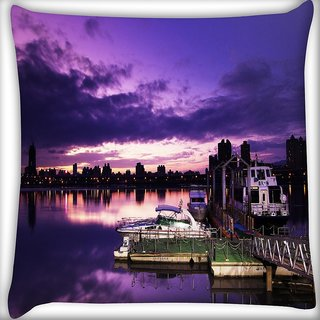 Snoogg Nite Sea View Digitally Printed Cushion Cover Pillow 16 x 16 Inch