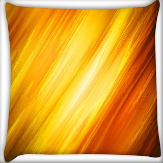 Snoogg Abstract Yellow And Orange Digitally Printed Cushion Cover Pillow 16 x 16 Inch