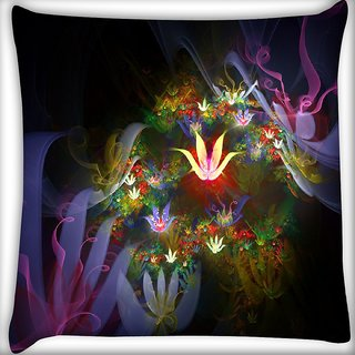 Snoogg Amazing Neon Flowers Digitally Printed Cushion Cover Pillow 16 x 16 Inch
