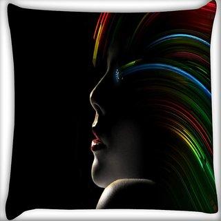 Snoogg Hollywood Girl With Rainbow Hair Digitally Printed Cushion Cover Pillow 16 x 16 Inch