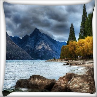 Snoogg Amazing Nature Corner Digitally Printed Cushion Cover Pillow 16 x 16 Inch