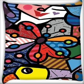 Snoogg Multicolor Butterfly Digitally Printed Cushion Cover Pillow 16 x 16 Inch
