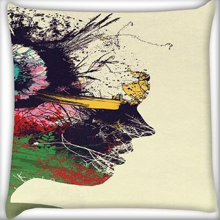 Snoogg Artist Portrait Digitally Printed Cushion Cover Pillow 16 x 16 Inch