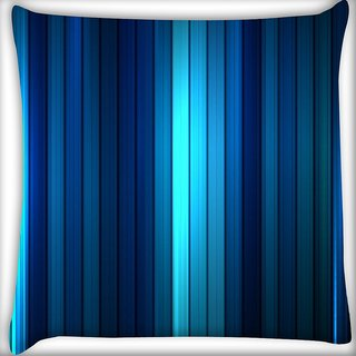 Snoogg Blue Strips Digitally Printed Cushion Cover Pillow 16 x 16 Inch