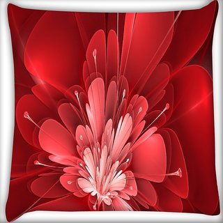 Snoogg Fractal Flower Digital Art Digitally Printed Cushion Cover Pillow 16 x 16 Inch