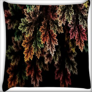 Snoogg Fractal Leaves Digital Art Digitally Printed Cushion Cover Pillow 16 x 16 Inch
