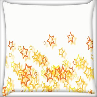 Snoogg Small Yellow Stars Digitally Printed Cushion Cover Pillow 16 x 16 Inch