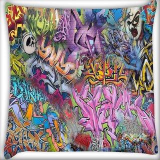 Snoogg Street Art Wall Digitally Printed Cushion Cover Pillow 16 x 16 Inch