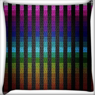Snoogg Colourful Stripe Digitally Printed Cushion Cover Pillow 16 x 16 Inch