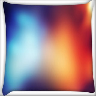 Snoogg Blue And Orange Faded Design Digitally Printed Cushion Cover Pillow 16 x 16 Inch