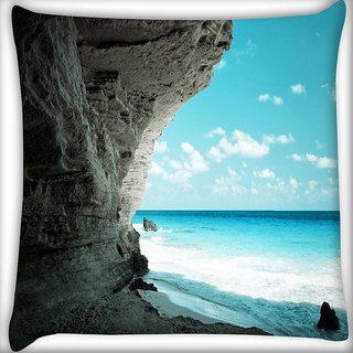 Snoogg Beach Side Place Digitally Printed Cushion Cover Pillow 16 x 16 Inch