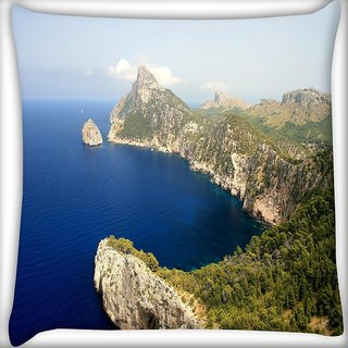 Snoogg Blue Water Mountain Digitally Printed Cushion Cover Pillow 16 x 16 Inch