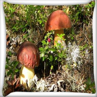 Snoogg Yellow Stem Mushroom Digitally Printed Cushion Cover Pillow 20 x 20 Inch