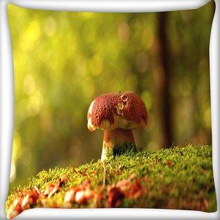 Snoogg Multicolor Mushroom Digitally Printed Cushion Cover Pillow 20 x 20 Inch