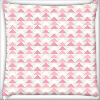 Snoogg Light Pink Triangles Digitally Printed Cushion Cover Pillow 20 x 20 Inch