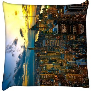 Snoogg  New York By Night  Digitally Printed Cushion Cover Pillow 16 x 16 Inch