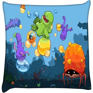 Snoogg monster kids playing 2658  Digitally Printed Cushion Cover Pillow 16 x 16 Inch
