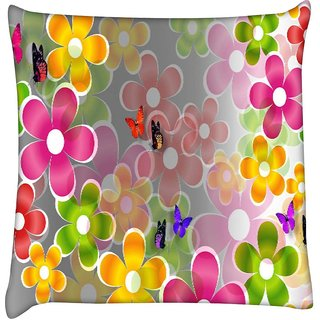 Snoogg multicolored daisies and butterflies 2662  Digitally Printed Cushion Cover Pillow 16 x 16 Inch