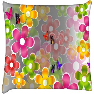 Snoogg multicolored daisies and butterflies 2663  Digitally Printed Cushion Cover Pillow 16 x 16 Inch