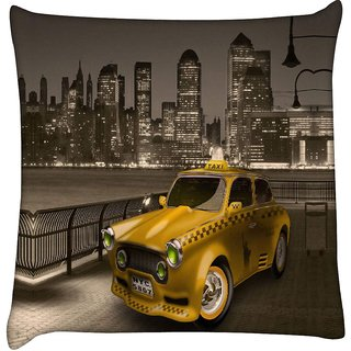 Snoogg new york city cab 2671  Digitally Printed Cushion Cover Pillow 16 x 16 Inch