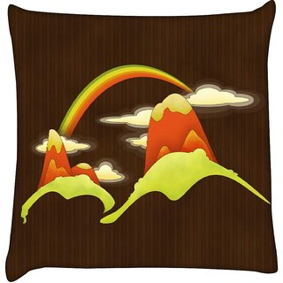 Snoogg rainbow above the mountains 2688  Digitally Printed Cushion Cover Pillow 16 x 16 Inch