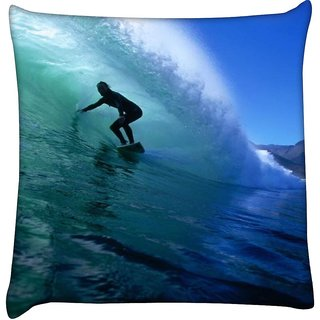 Snoogg  Surfer Style 2  Digitally Printed Cushion Cover Pillow 16 x 16 Inch